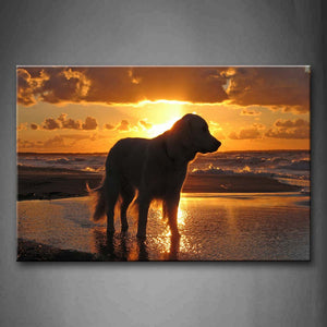 Big Dog Stand On Seaside At Dusk  Wall Art Painting Pictures Print On Canvas Animal The Picture For Home Modern Decoration