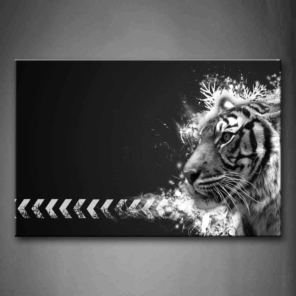 Black And White Tiger Head At Black Background Wall Art Painting Pictures Print On Canvas Animal The Picture For Home Modern Decoration