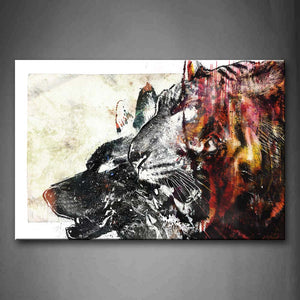 Artistic Tiger And Wolf Head Wall Art Painting The Picture Print On Canvas Animal Pictures For Home Decor Decoration Gift