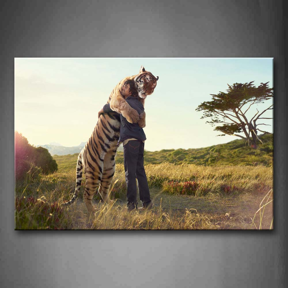 A Man Holding Together With A Tiger Wall Art Painting Pictures Print On Canvas Animal The Picture For Home Modern Decoration