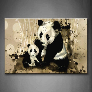 Artistic Mother Panda With Cub Bamboo Wall Art Painting The Picture Print On Canvas Animal Pictures For Home Decor Decoration Gift