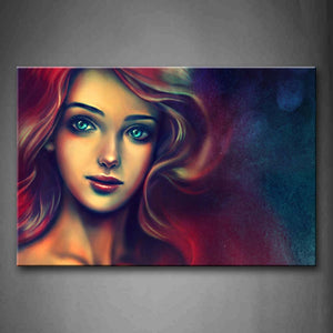 A Beaty With Colorful Hair Wall Art Painting Pictures Print On Canvas People The Picture For Home Modern Decoration