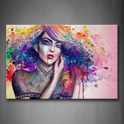 Woman With Colorful Hair Wall Art Painting Pictures Print On Canvas People The Picture For Home Modern Decoration