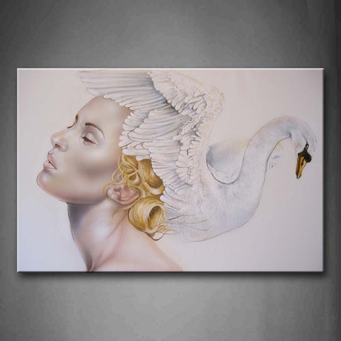 Woman White Swan On Head Wall Art Painting The Picture Print On Canvas People Pictures For Home Decor Decoration Gift