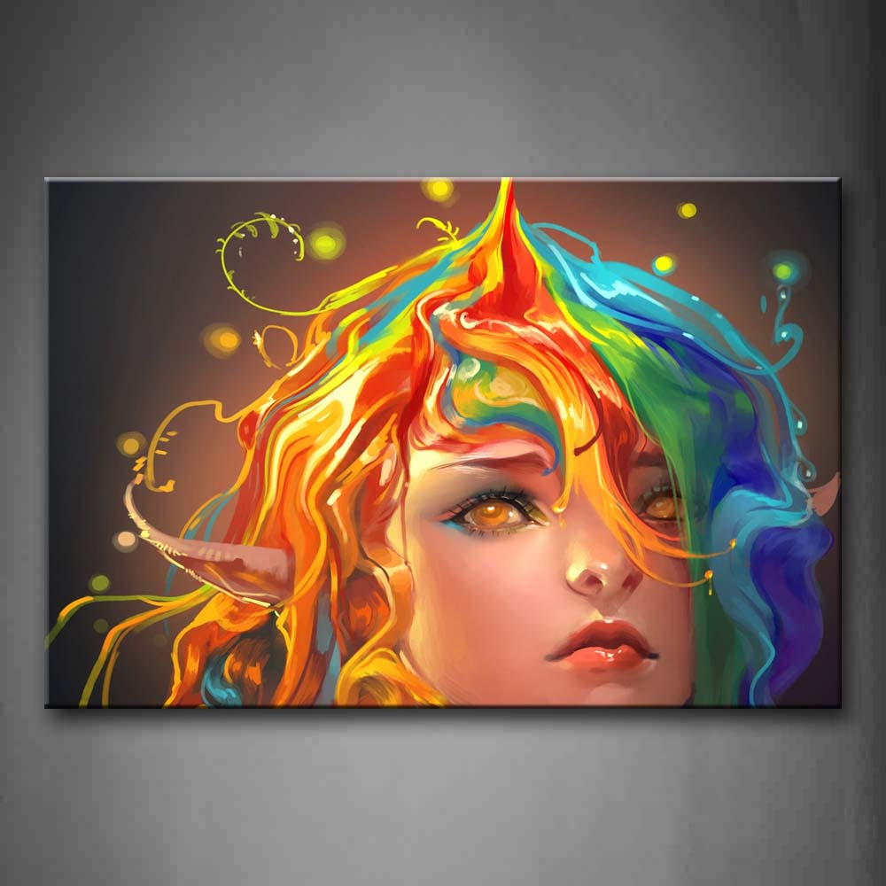 Artistic Girl With Colorful Head Wall Art Painting The Picture Print On Canvas People Pictures For Home Decor Decoration Gift