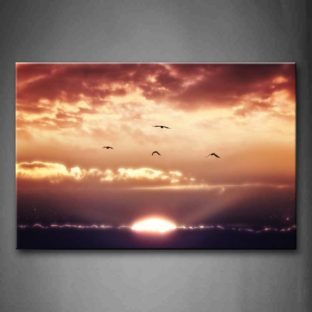 Birds Fly Over Sun At Sunset Wall Art Painting The Picture Print On Canvas Seascape Pictures For Home Decor Decoration Gift