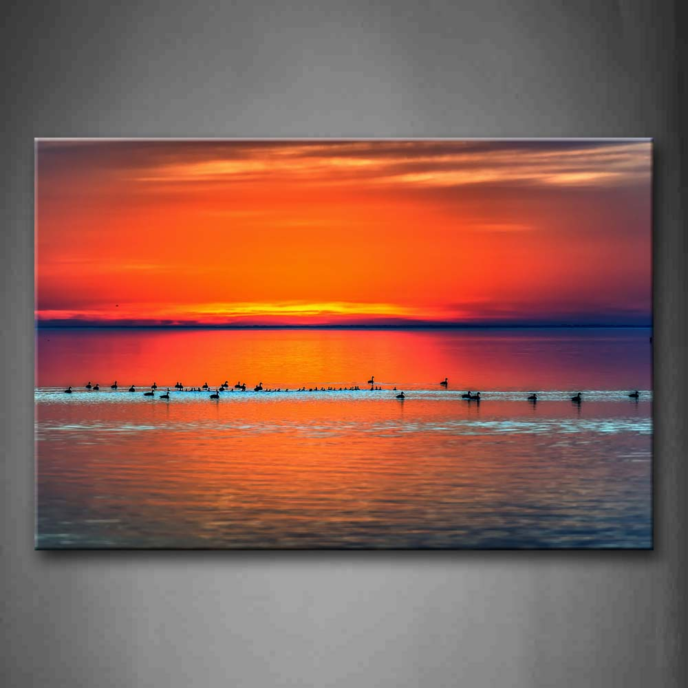 Bird Swim On Wide Sea At Sunset Wall Art Painting Pictures Print On Canvas Seascape The Picture For Home Modern Decoration