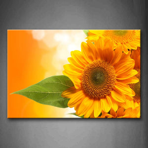 Yellow Sunflower With Leaf Portrait Wall Art Painting Pictures Print On Canvas Flower The Picture For Home Modern Decoration