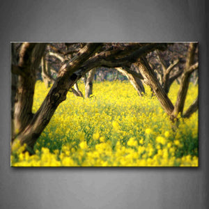 A Sheet Of Yellow Flower Under Bushes Wall Art Painting Pictures Print On Canvas Botanical The Picture For Home Modern Decoration