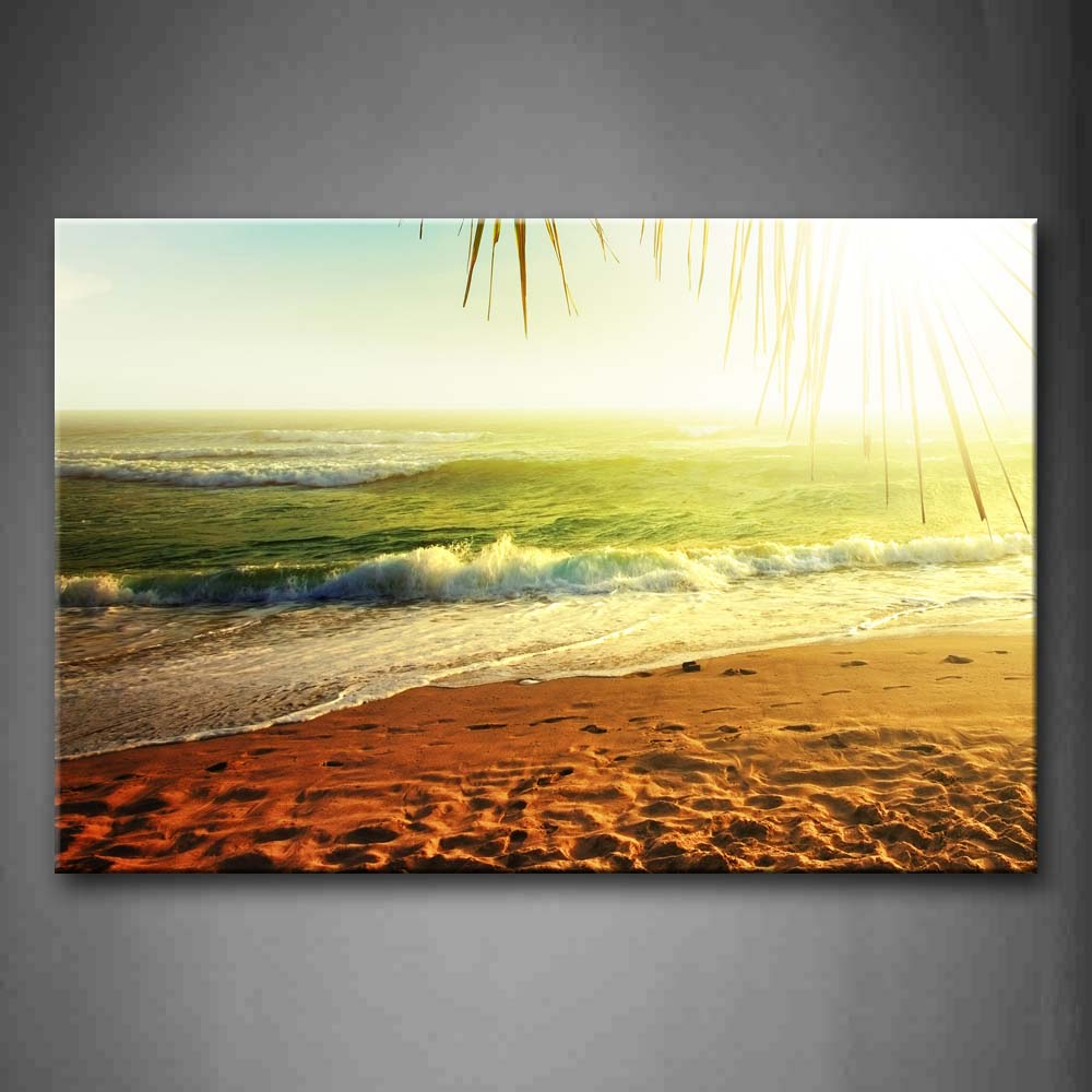 Beach Wih Green Sea And Bright Sun Wall Art Painting Pictures Print On Canvas Landscape The Picture For Home Modern Decoration