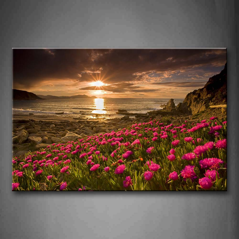 A Group Of Pink Flowers On Coastline Many Stones Bright Sun Wall Art Painting Pictures Print On Canvas Flower The Picture For Home Modern Decoration
