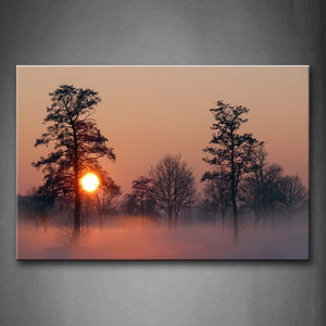 Yellow Sun Fog Pervade Among Trees Wall Art Painting Pictures Print On Canvas Landscape The Picture For Home Modern Decoration
