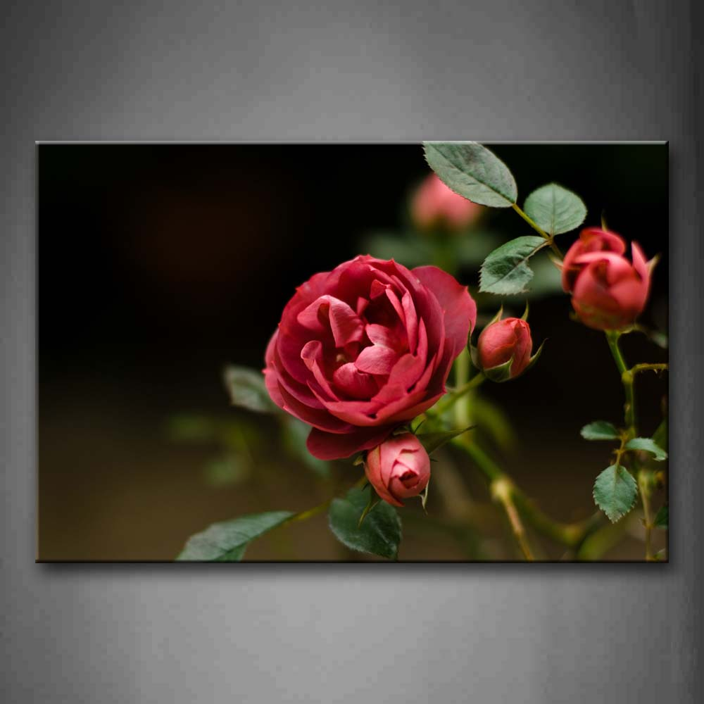 Beautiful Flowers In Red With Fresh Leaves Wall Art Painting The Picture Print On Canvas Flower Pictures For Home Decor Decoration Gift