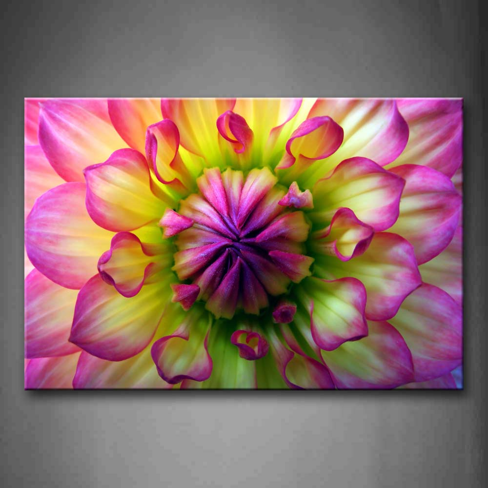 Beautiful Huge Flowesr In Pink And Yellow Wall Art Painting Pictures Print On Canvas Flower The Picture For Home Modern Decoration