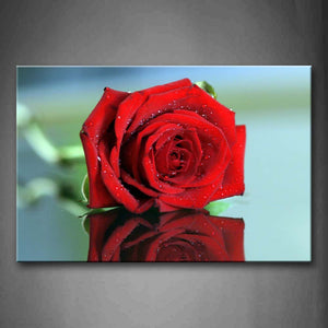 Beautiful Rose In Red With Waterdrops Wall Art Painting The Picture Print On Canvas Flower Pictures For Home Decor Decoration Gift