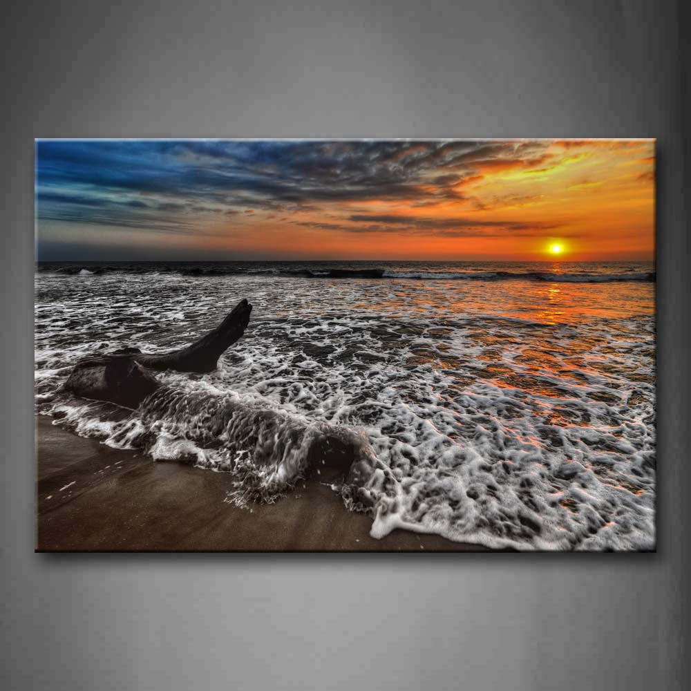 Beautiful Sunset Glow Small Waves In Ocean Wall Art Painting The Picture Print On Canvas Seascape Pictures For Home Decor Decoration Gift