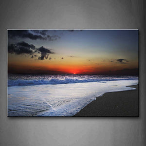 Beautiful Sunset Glw Waves On The Clear Beach Wall Art Painting Pictures Print On Canvas Seascape The Picture For Home Modern Decoration