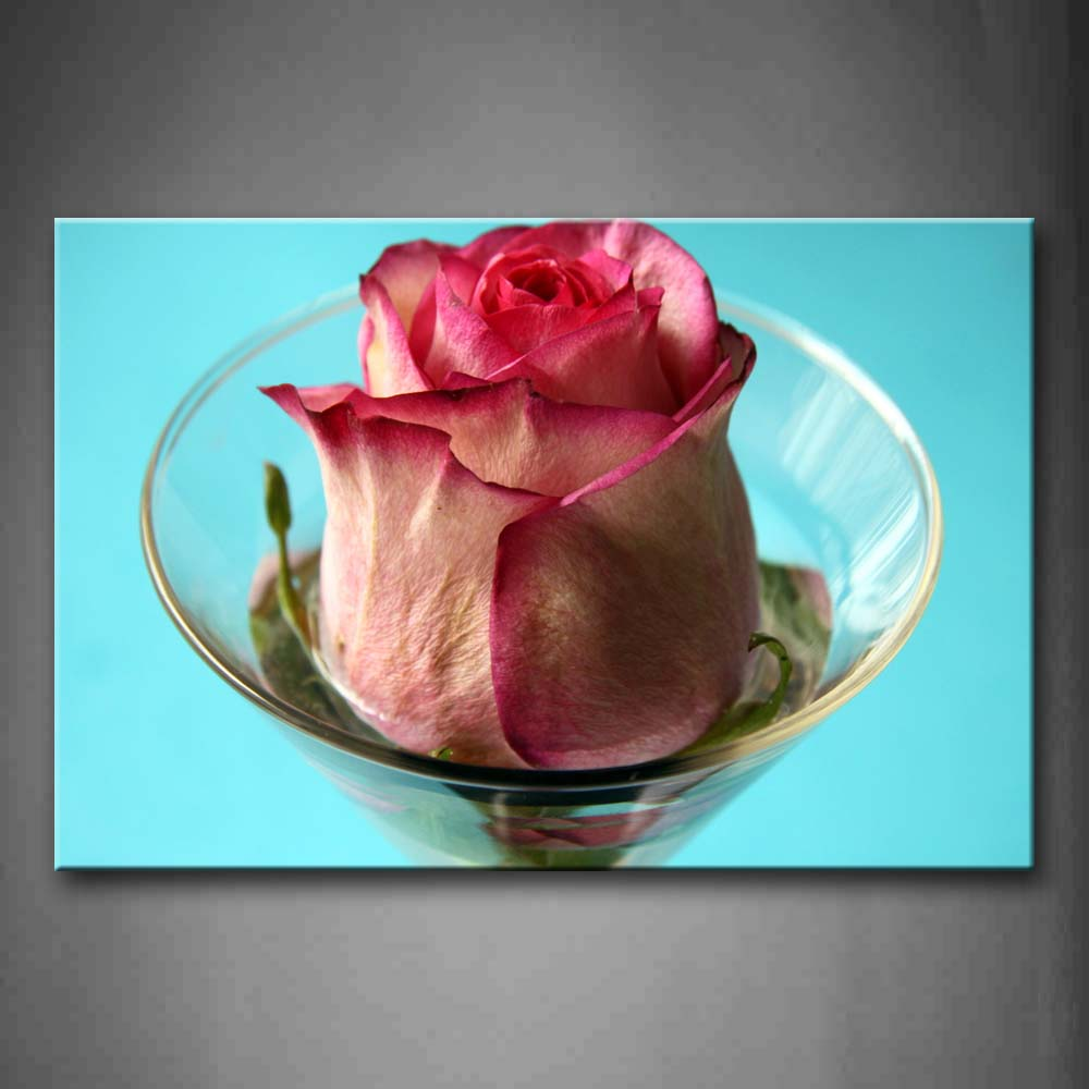 Beautiful Rose In Pink In The Cup Wall Art Painting The Picture Print On Canvas Flower Pictures For Home Decor Decoration Gift