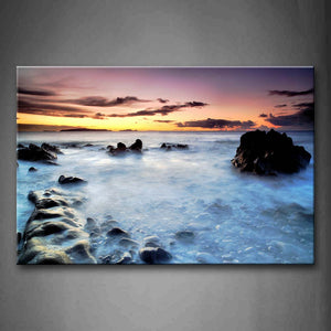 Black Rocks Fog Above Quiet Water Golden Sky Wall Art Painting The Picture Print On Canvas Seascape Pictures For Home Decor Decoration Gift