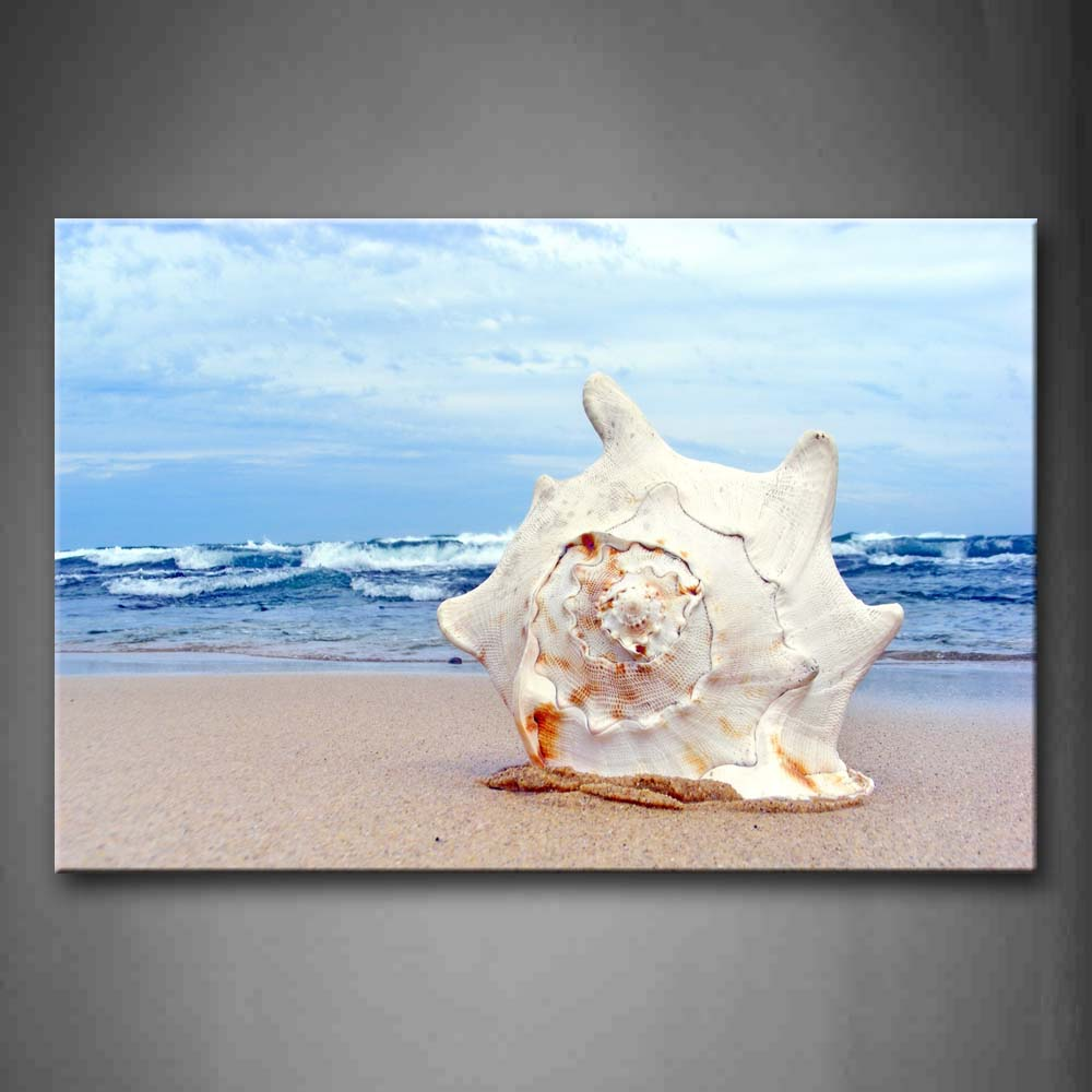 Big Shell On The Beach With Small Waves Wall Art Painting Pictures Print On Canvas Seascape The Picture For Home Modern Decoration