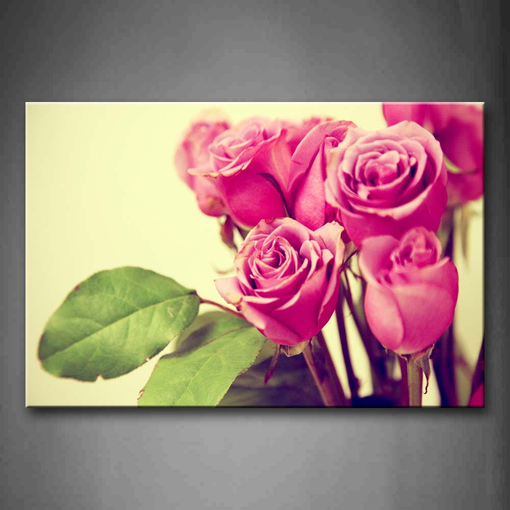 A Bunch Of Pink Roses Portrait Wall Art Painting Pictures Print On Canvas Flower The Picture For Home Modern Decoration
