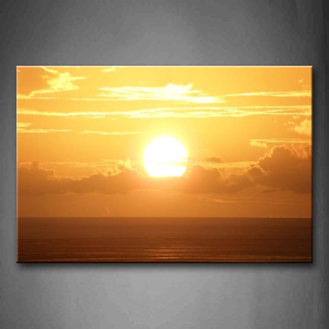 Yellow Orange Setting Sun Over Sea Wall Art Painting Pictures Print On Canvas Seascape The Picture For Home Modern Decoration