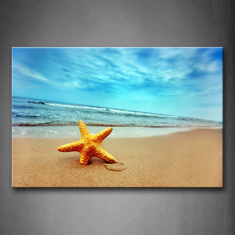 Yellow Starfish On Beach Wall Art Painting The Picture Print On Canvas Seascape Pictures For Home Decor Decoration Gift