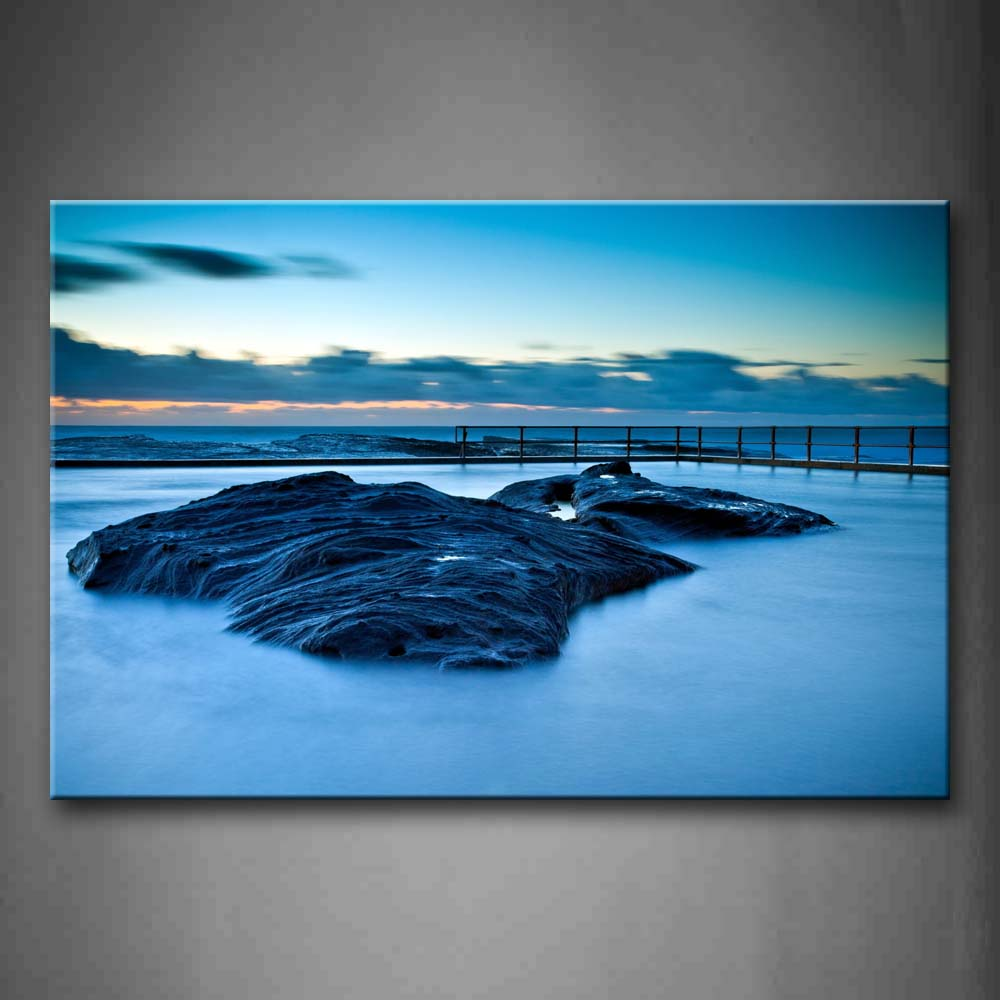 Big Rock On Dreamlike Pool Sunset Glow Wall Art Painting The Picture Print On Canvas Seascape Pictures For Home Decor Decoration Gift