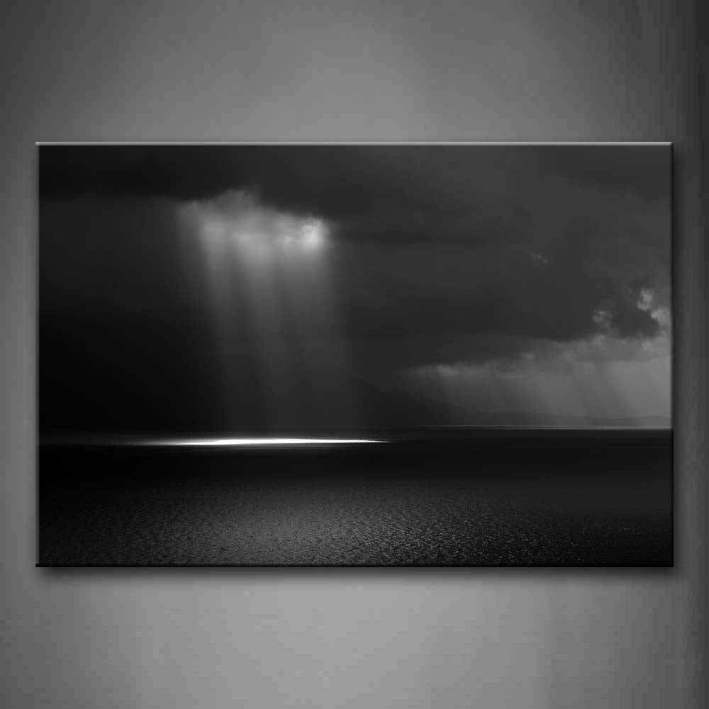 Black And White Bright Light Through Dark Sky Shine On Sea Wall Art Painting Pictures Print On Canvas Landscape The Picture For Home Modern Decoration