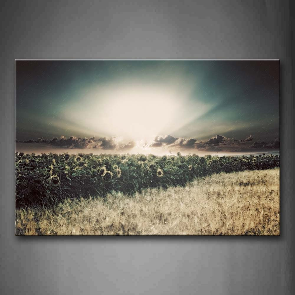 A Slice Of Sunflower Over Field Wall Art Painting Pictures Print On Canvas Landscape The Picture For Home Modern Decoration