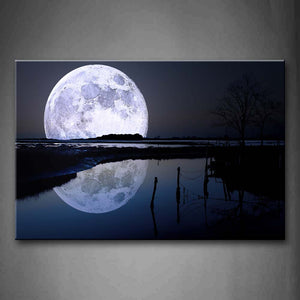Black And White Reflection Of Big Moon Over Sea Beach Wall Art Painting The Picture Print On Canvas Space Pictures For Home Decor Decoration Gift