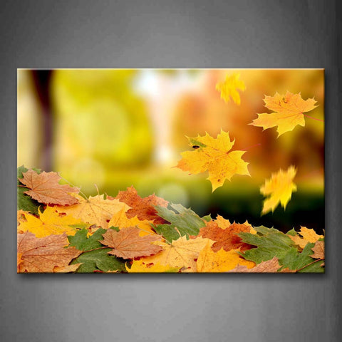 Yellow Orange Fresh Fallen Maple Leaves  Wall Art Painting The Picture Print On Canvas Botanical Pictures For Home Decor Decoration Gift