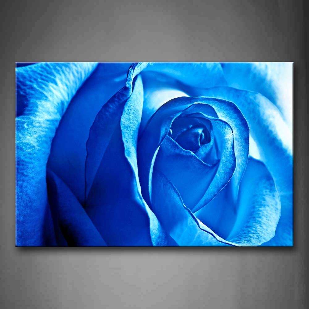 Big Blue Rose Wall Art Painting Pictures Print On Canvas Flower The Picture For Home Modern Decoration