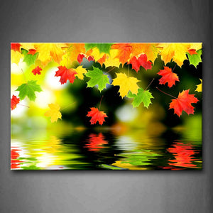 Yellow Orange Colorful Leaf Falling In Water Wall Art Painting Pictures Print On Canvas Botanical The Picture For Home Modern Decoration