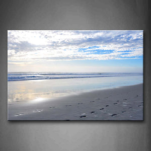 Beach With Footprint Sunlight Wall Art Painting Pictures Print On Canvas Seascape The Picture For Home Modern Decoration