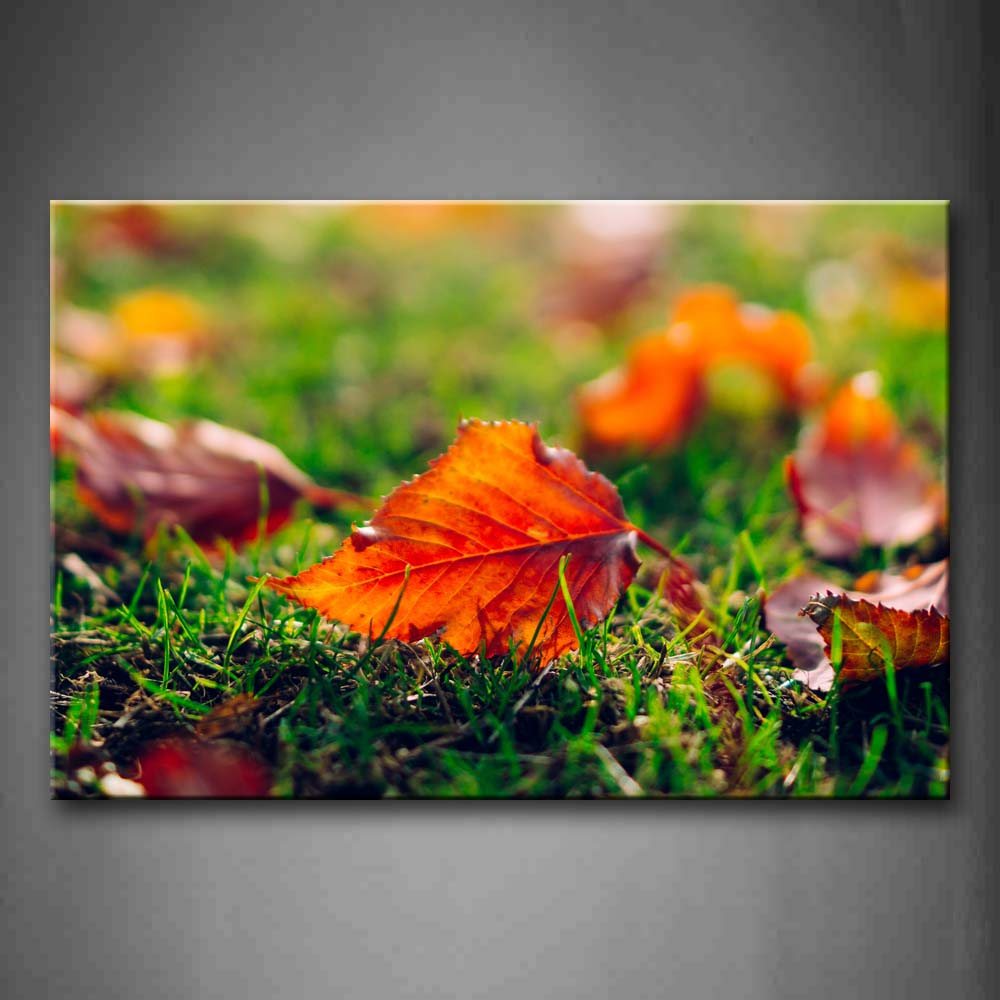 Autumn Leaf In Grass Wall Art Painting The Picture Print On Canvas Flower Pictures For Home Decor Decoration Gift