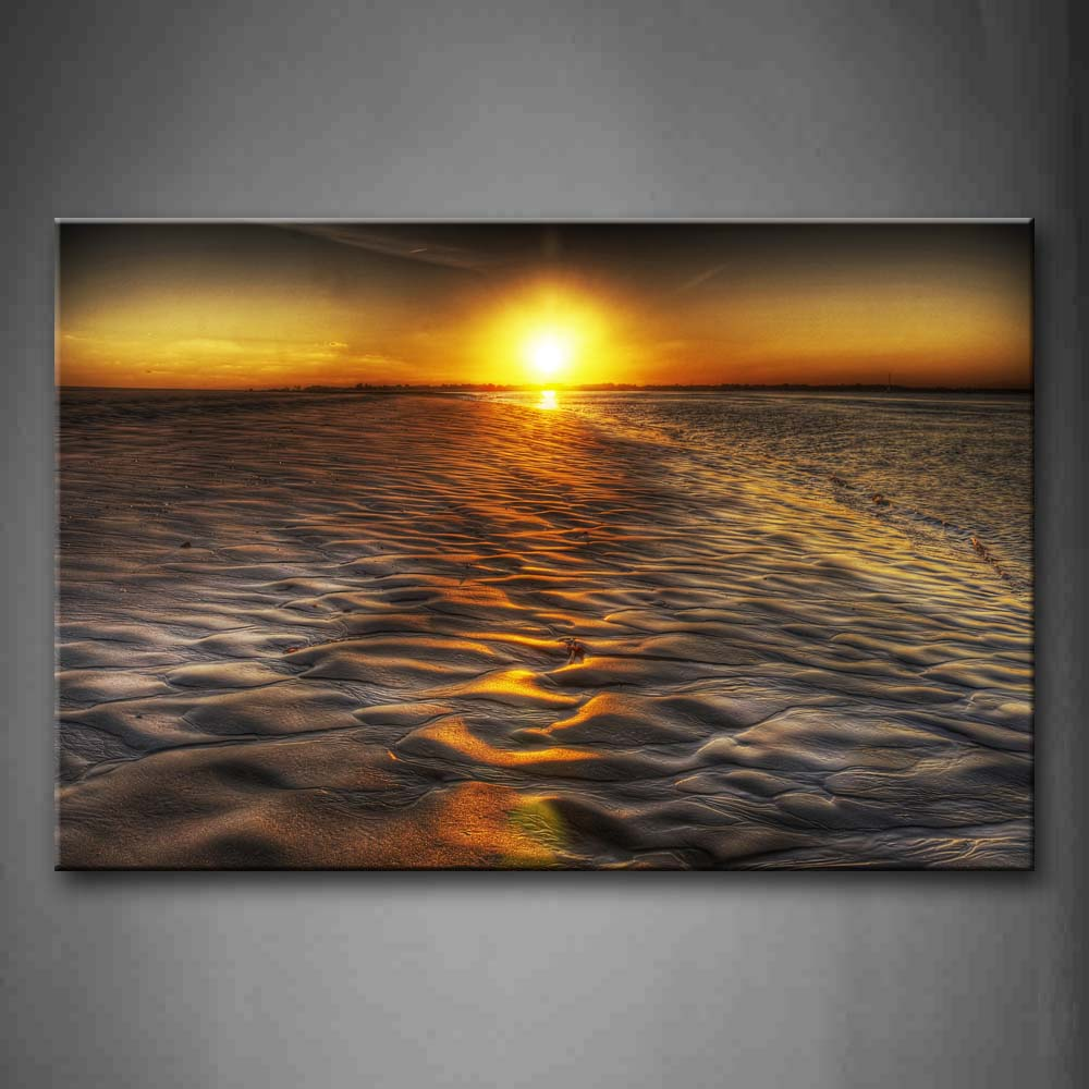 Beach Reflection Sunlight At Sunset Wall Art Painting Pictures Print On Canvas Seascape The Picture For Home Modern Decoration