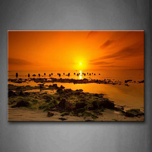 Yellow Orange Sea With Stone With Sunlight At Sunset Wall Art Painting Pictures Print On Canvas Seascape The Picture For Home Modern Decoration