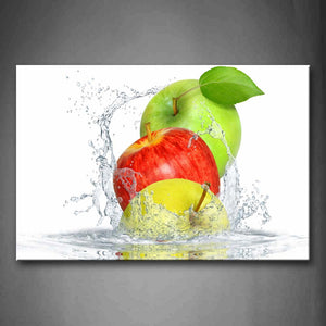 Yellow Red And Green Apple In Water Wall Art Painting Pictures Print On Canvas Food The Picture For Home Modern Decoration