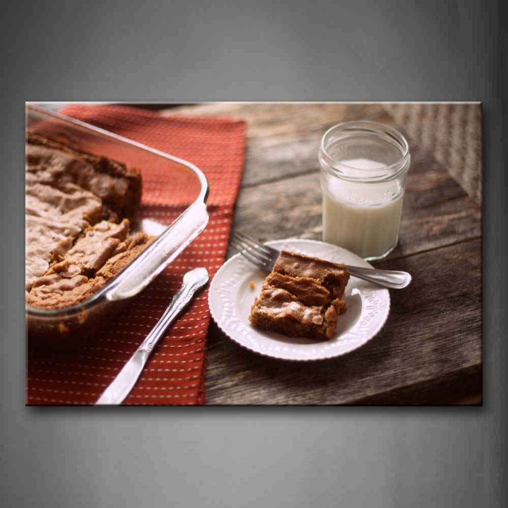 Baking With Milk And Fork Knife Wall Art Painting Pictures Print On Canvas Food The Picture For Home Modern Decoration