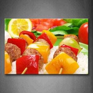 Barbecue With Red Yellow Fruit In Rice Wall Art Painting Pictures Print On Canvas Food The Picture For Home Modern Decoration