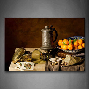 A Sieve Poker Oranger Smoke On The Table Wall Art Painting The Picture Print On Canvas Food Pictures For Home Decor Decoration Gift