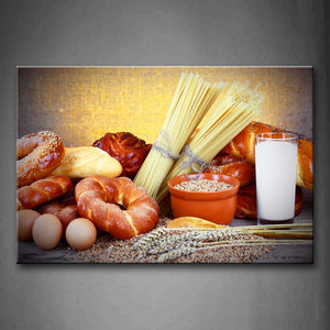 Baking Bread Egg Wheat Milk Wall Art Painting The Picture Print On Canvas Food Pictures For Home Decor Decoration Gift