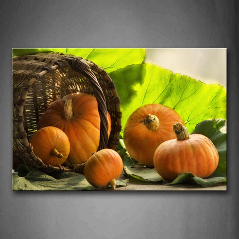 Yellow Pumpkin In Basket With Green Leaf Wall Art Painting Pictures Print On Canvas Food The Picture For Home Modern Decoration