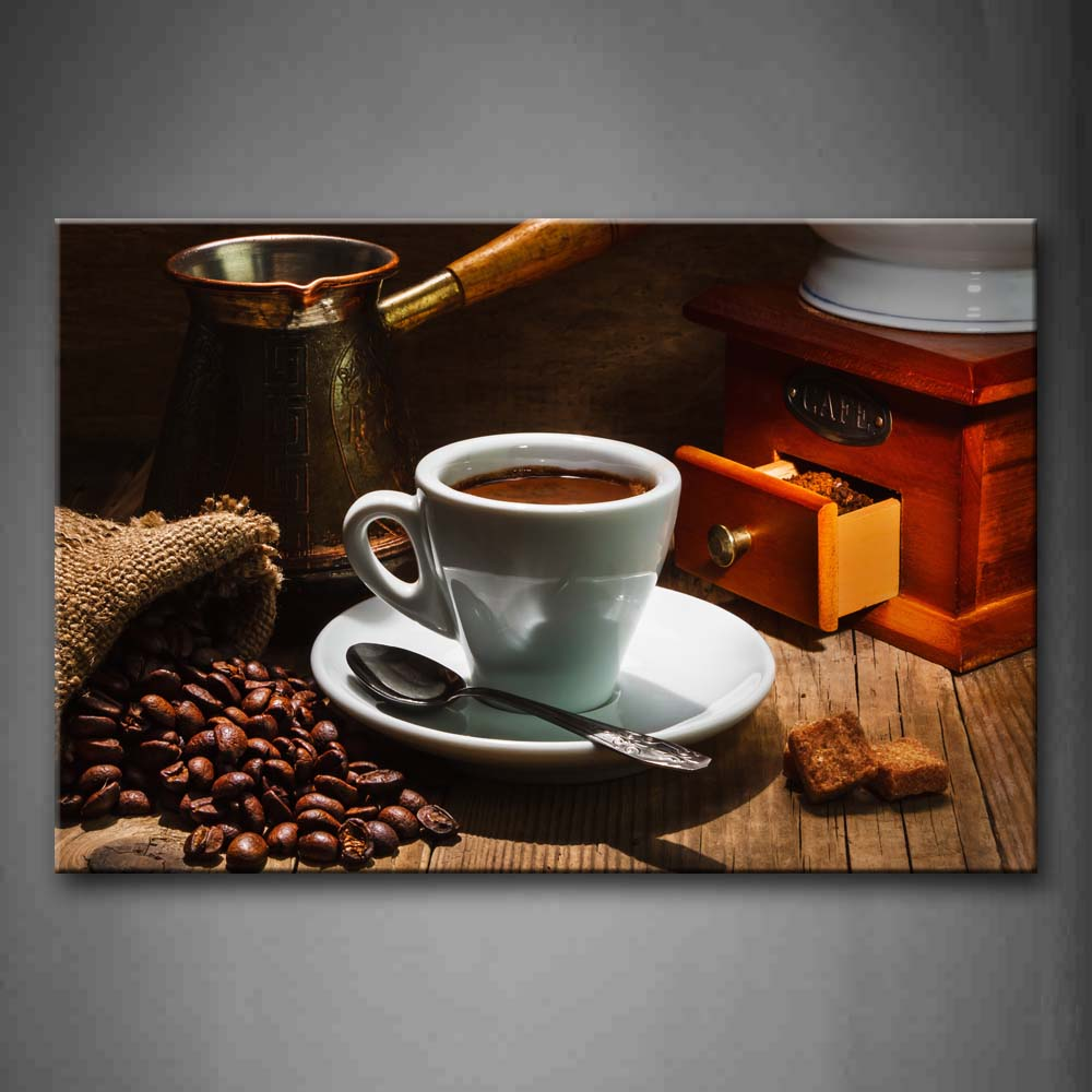 A Cup Of Coffee And Coffee Bean With Spoon. Wall Art Painting The Picture Print On Canvas Food Pictures For Home Decor Decoration Gift
