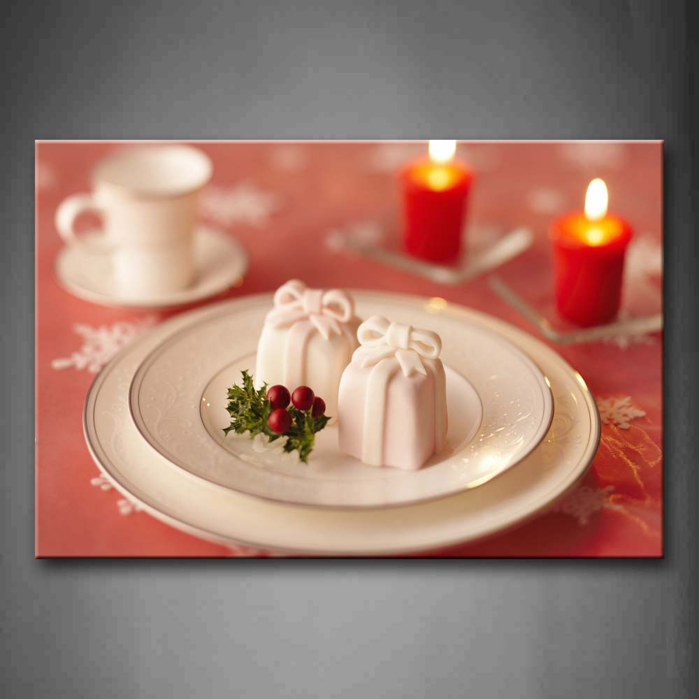 Beautiful White Dessert With Candles. Wall Art Painting The Picture Print On Canvas Food Pictures For Home Decor Decoration Gift