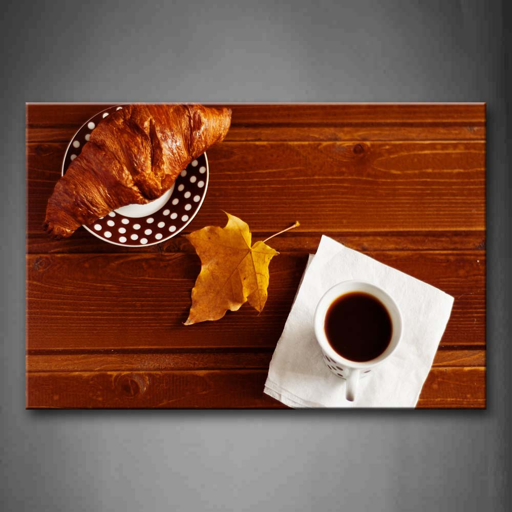 A Cup Of Coffee And Croissant A Piece Of Leaf Wall Art Painting The Picture Print On Canvas Food Pictures For Home Decor Decoration Gift