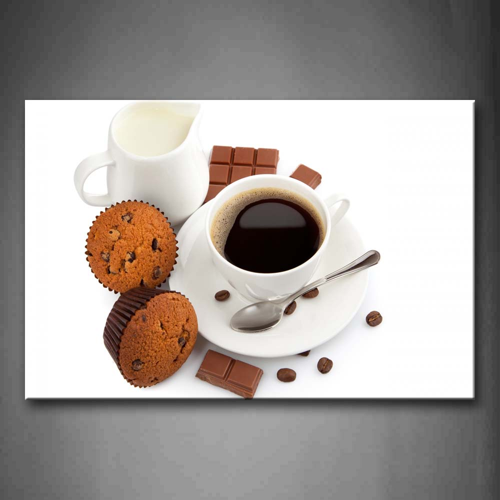 Black Coffee And Cakes With Chocolate Wall Art Painting Pictures Print On Canvas Food The Picture For Home Modern Decoration