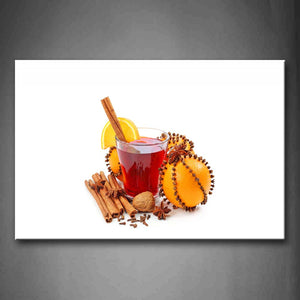 A Cup Of Red Tea And Oranges With Cinnamons Wall Art Painting Pictures Print On Canvas Food The Picture For Home Modern Decoration