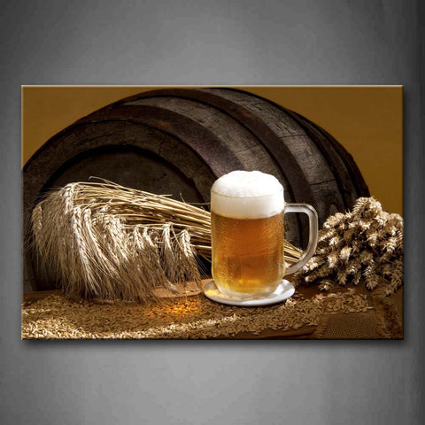 A Cup Of Beer With Wheat Wall Art Painting The Picture Print On Canvas Food Pictures For Home Decor Decoration Gift